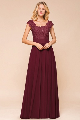 Sleeveless Lace Appliques Chiffon A-line Prom Gowns_7