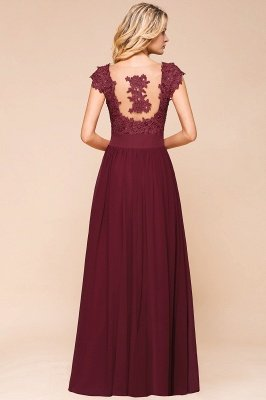 Sleeveless Lace Appliques Chiffon A-line Prom Gowns_11