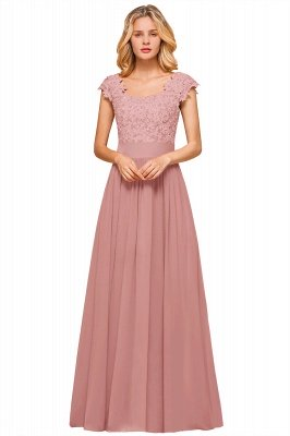 Sleeveless Lace Appliques Chiffon A-line Prom Gowns_2