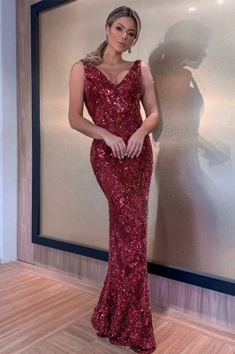 Sleeveless V-neck Burgundy Sequins Floor Length Mermaid Evening Gowns