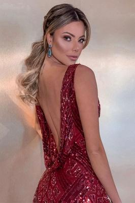 Sleeveless V-neck Burgundy Sequins Floor Length Mermaid Evening Gowns_2