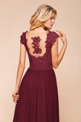 Sleeveless Lace Appliques Chiffon A-line Prom Gowns_15