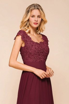 Sleeveless Lace Appliques Chiffon A-line Prom Gowns_9