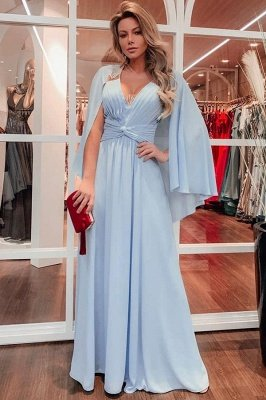A-line V-neck Ruffled Chiffon UK Prom Dresses with Wrap