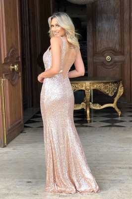 Champagne Sequins Spaghetti Front Slit Long Mermaid Evening Gowns_2