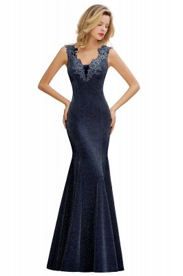 Sparkly V-neck Sexy Evening Dress UK | Flowers Sleeveless Pink Floor Length Formal Dresses_5