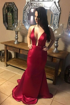 Alluring V-neck Halter Backless Burgundy Mermaid Evening Dresses_1