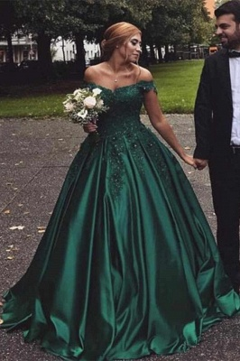 Vintage Appliques Off-the-shoulder Ball Gown Prom Dresses_1