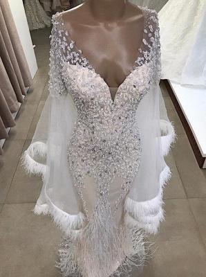 Trendy V-neck Appliques Tassels Sleeves Mermaid Long Prom Dresses_2