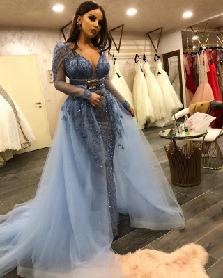 Luxurious V-neck Long Sleeves Belted Mermaid Crystal Beading Tulle Dresses with Overskirt_3