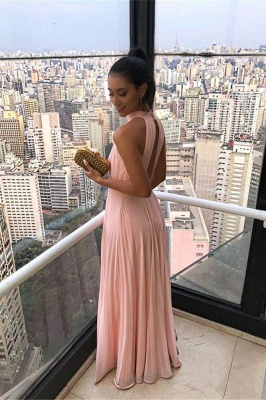 Ruffled Chiffon Keyhole Neckline A-line Long Prom Dresses_2