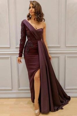 One-shoulder One-sleeve Appliqued Sheath Slit Evening Dresses_1