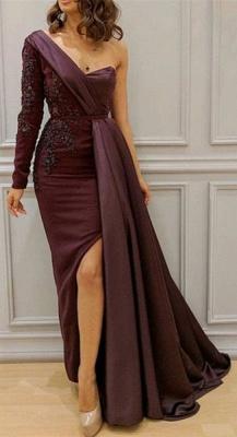 One-shoulder One-sleeve Appliqued Sheath Slit Evening Dresses_4