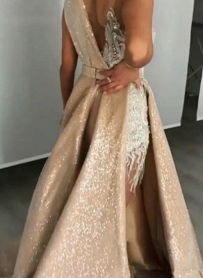 Sleeveless Lace Appliques Mermaid Prom Gowns with Sweep Train_3