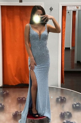 Spaghetti Straps Shiny Slit Long Mermaid Prom Dresses_1