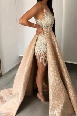 Sleeveless Lace Appliques Mermaid Prom Gowns with Sweep Train_1