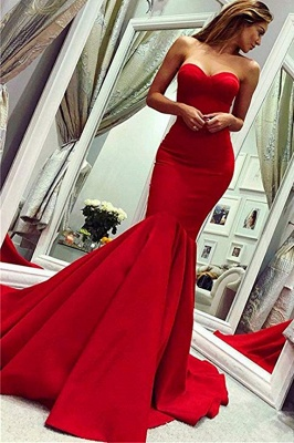 Sweetheart Strapless Floor Length Mermaid Prom Gowns_1
