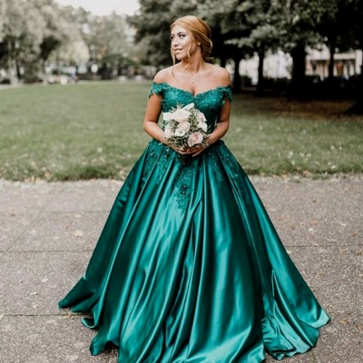 Vintage Appliques Off-the-shoulder Ball Gown Prom Dresses_4