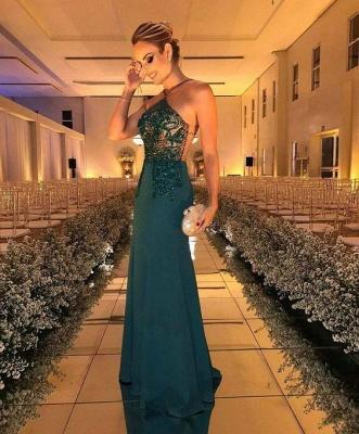 Glamrous Floor Length Halter Beading Sheath Formal Gowns_3