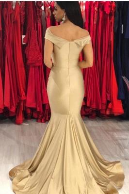 Elegant Off-the-shoulder Draped Satin Long Mermaid Prom Dresses_2