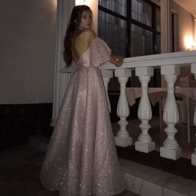 Sweetheart Off-the-shoulder Puffy Sleeves Sequins A-line Slit Prom Dresses_4