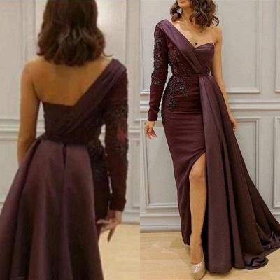 One-shoulder One-sleeve Appliqued Sheath Slit Evening Dresses_3