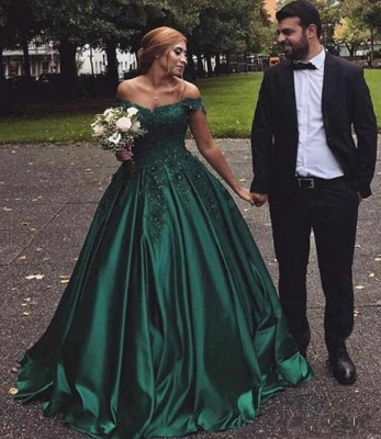 Vintage Appliques Off-the-shoulder Ball Gown Prom Dresses_5