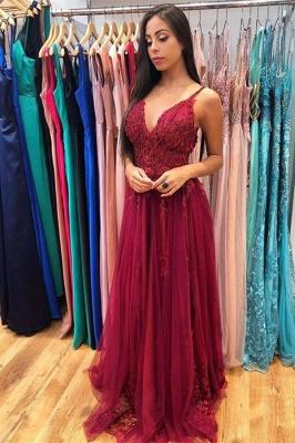 Elegant A-line Lace Appliqued Tulle Floor Length Prom Dresses_1