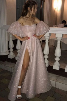 Sweetheart Off-the-shoulder Puffy Sleeves Sequins A-line Slit Prom Dresses_1