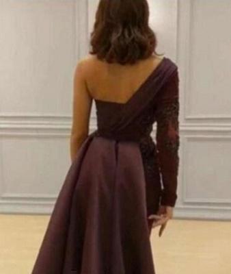 One-shoulder One-sleeve Appliqued Sheath Slit Evening Dresses_2