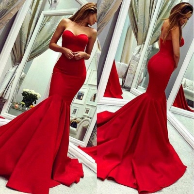 Sweetheart Strapless Floor Length Mermaid Prom Gowns_3
