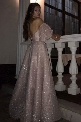 Sweetheart Off-the-shoulder Puffy Sleeves Sequins A-line Slit Prom Dresses_2