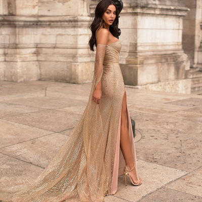 Strapless Golden Sequins Floor Length Sheath Evening Gowns with Sleeves_3