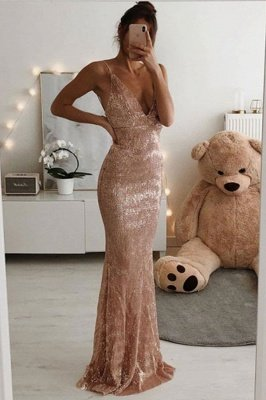 V-neck Spaghetti Sleeveless Long Mermaid Prom Dresses