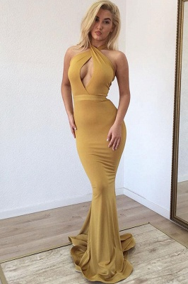 Cross Halter Keyhole Neckline Mermaid Formal Dresses_1