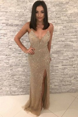 Sequins Sleeveless V-neck Slit Floor Length Mermaid Formal Gowns