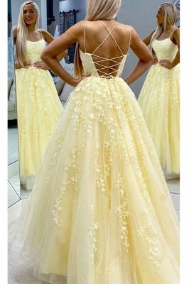 Chic Appliques Tulle Lace-up Floor Length A-line Prom Dresses_3