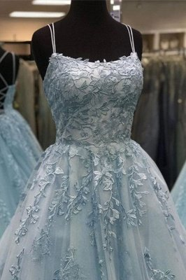 Chic Appliques Tulle Lace-up Floor Length A-line Prom Dresses_4