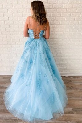 Chic Appliques Tulle Lace-up Floor Length A-line Prom Dresses_2
