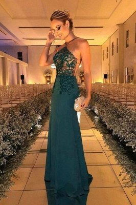 Glamrous Floor Length Halter Beading Sheath Formal Gowns