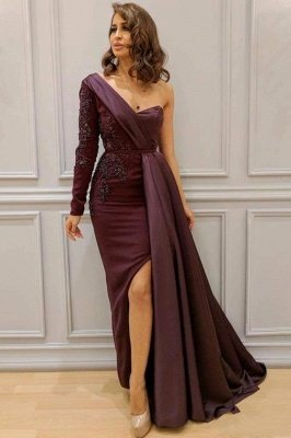 One-shoulder One-sleeve Appliqued Sheath Slit Evening Dresses