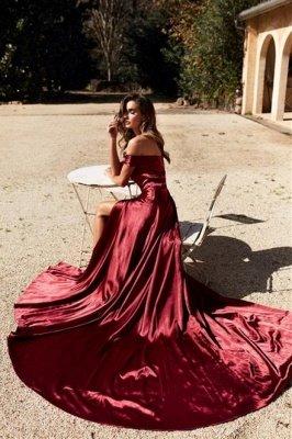 Trendy Off-the-shoulder Court Train Front Slit Burgundy Evening Dresses_2