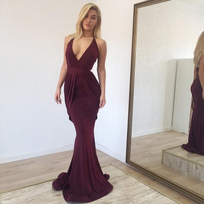 Halter V-neck Draped Long Mermaid Evening Gowns UK_2