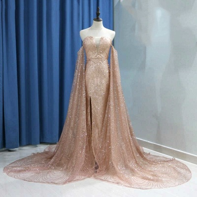 Strapless Golden Sequins Floor Length Sheath Evening Gowns with Sleeves_5