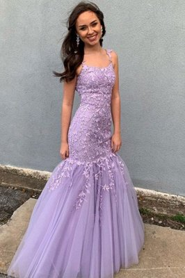 Spaghetti Appliques Floor Length Tulle Mermaid Prom Gowns