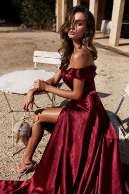 Trendy Off-the-shoulder Court Train Front Slit Burgundy Evening Dresses_3