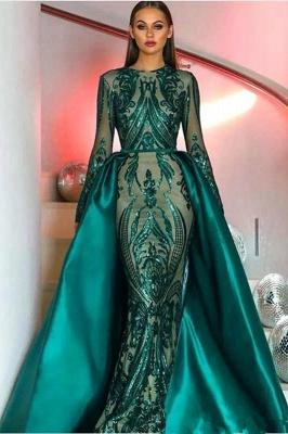 Long Sleeves Sequins Appliques Floor Length Mermaid Dresses with Overskirt_1