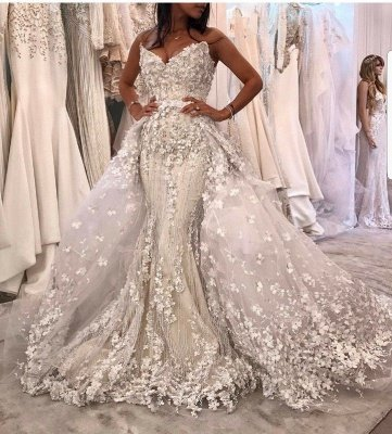 Sleeveless Lace Appliques Mermaid Prom Gowns with Sweep Train_2