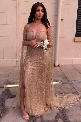 Strapless Golden Sequins Floor Length Sheath Evening Gowns with Sleeves_2