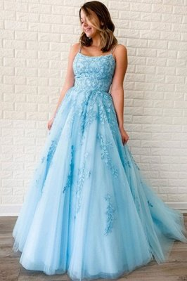 Chic Appliques Tulle Lace-up Floor Length A-line Prom Dresses_1